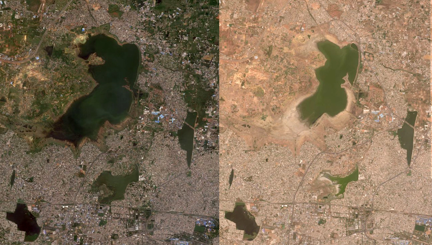 Figure 1 Satellite image of the Chennai reservoir before the drought (left) and during the drought (right). Source: Maxar Technologies