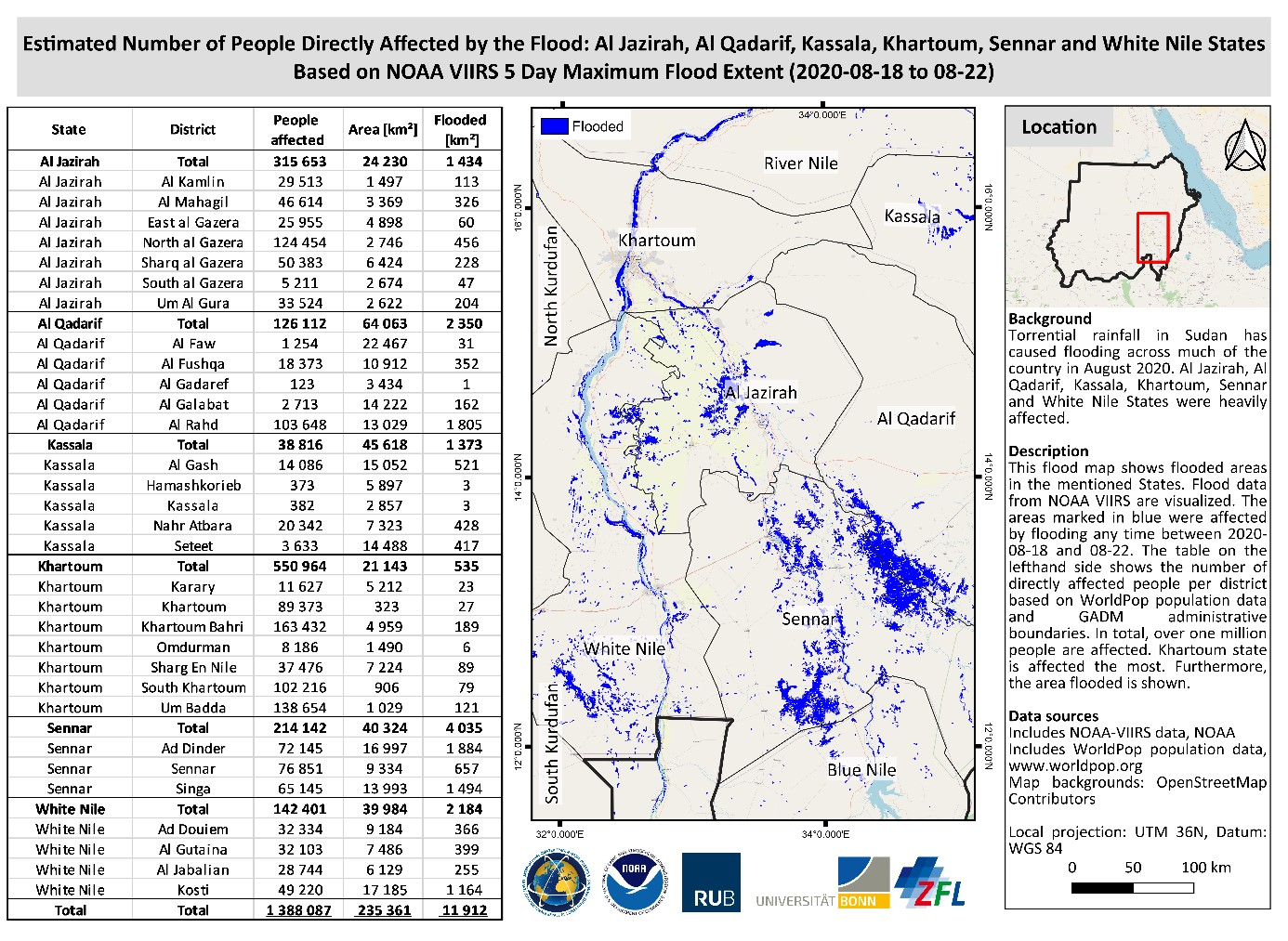 Figure 4: Estimated Number of People and area directly affected by the flood. Map was produced by RUB and ZFL based on previous analysis by NOAA based on VIIRS data
