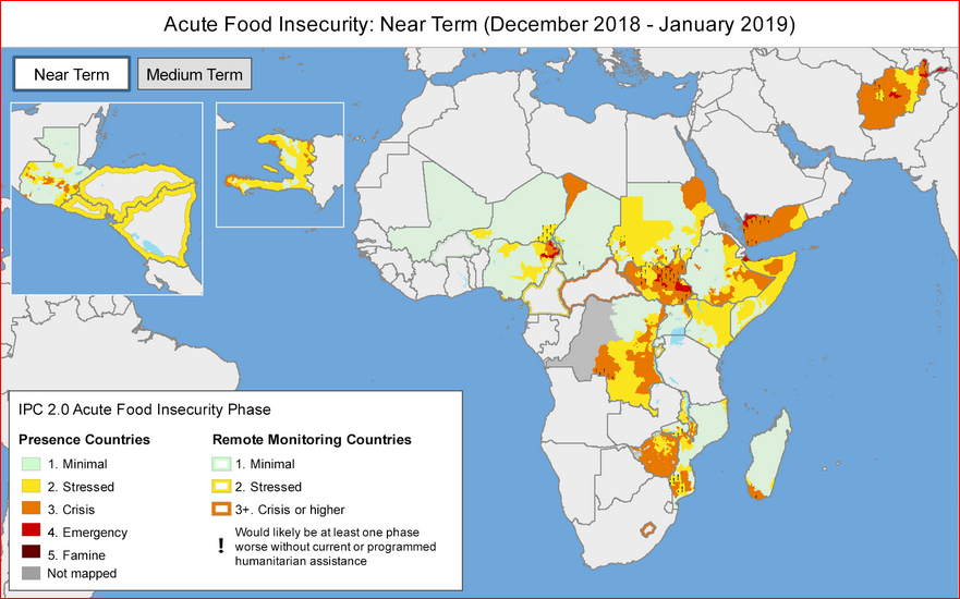 Map of food insecurity showing areas of highest concern (Picture credit: FEWSNET)