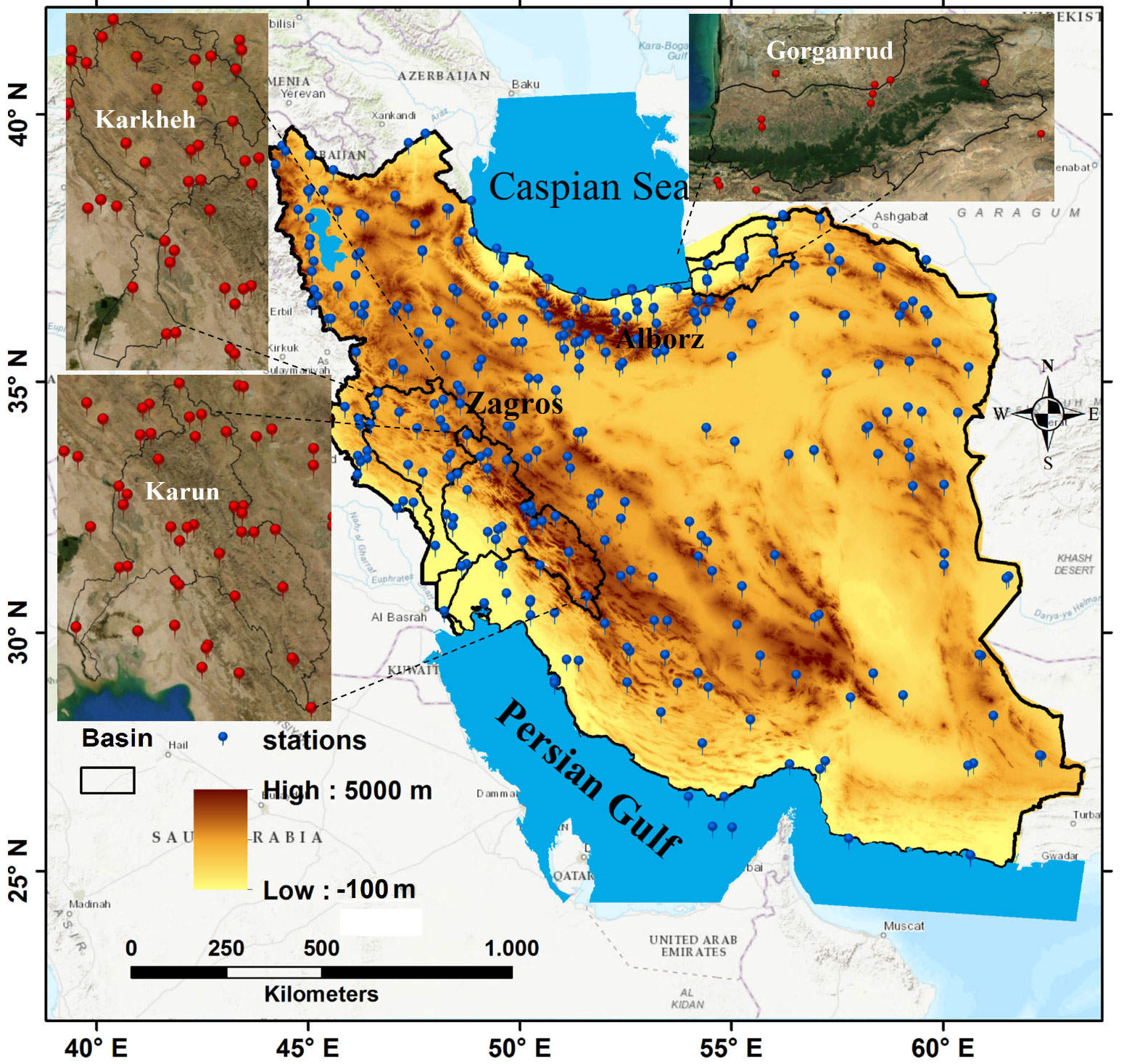 Figure 3. The spatial distribution of in situ observations on the elevation map of Iran. The three basins that were affected by the severe floods in 2019, are indicated.