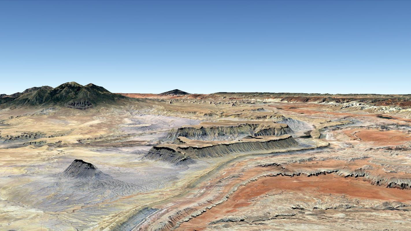 Oblique natural-colour panorama of sedimentary strata in the semi-arid UInta Basin of Utah, USA (created by Steve Drury using Google Earth Pro)