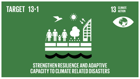 Graphic displaying the strengthening of resilience and adaptive capacity to climate-related hazards and natural disasters